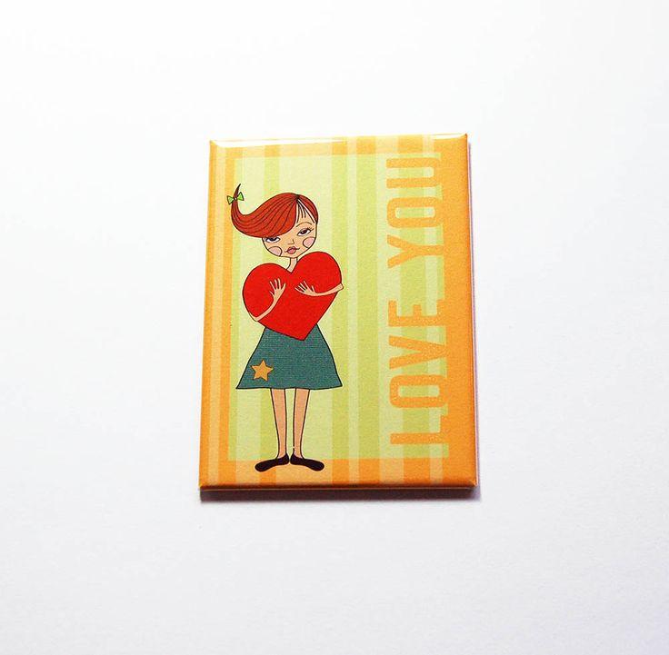Love You magnet, Valentines Day magnet, Fridge magnet, Large Magnet, ACEO, Gift for him, love, Valentines Day gift, Orange, Green (7276) by KellysMagnets on Etsy