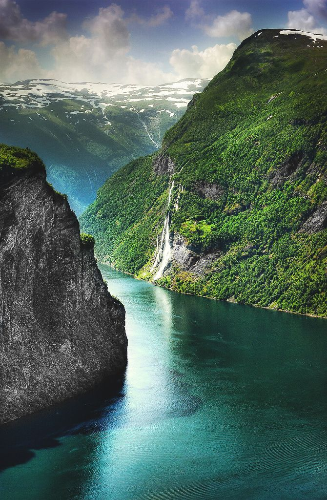 Geiranger, Norway Need to add to the bucket list, I remember reading about the fiords in the 6th grade and wanting to see them so badly!