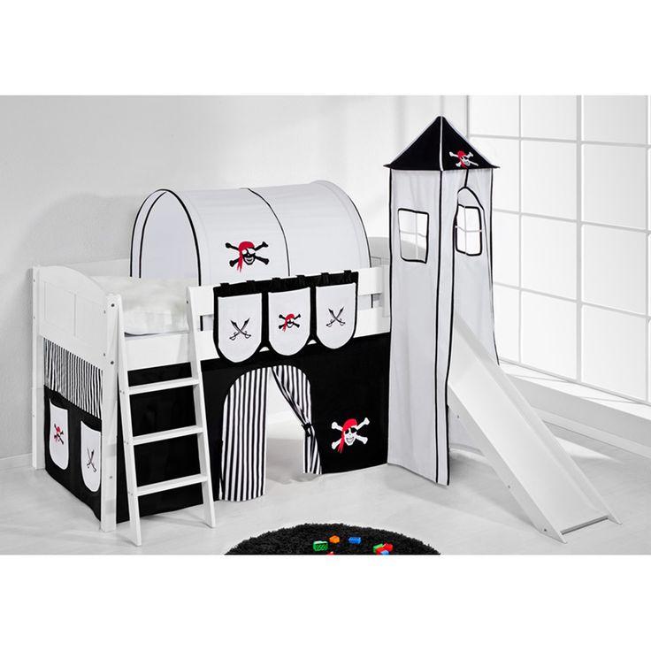 e-combuy Angebote Hochbett Spielbett IDA Pirat Schwarz Weiß, mit Turm, Rutsche und Vorhang, weiß: Category: Hochbetten Item…%#Quickberater%