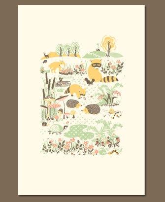 Woodland Creatures Letterpress Print Hello! Lucky.