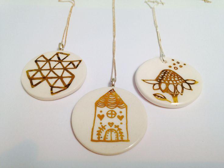 Gold hand painted Porcelian Pendants by Flick Inc and My China Ceramics.  www.mychinaceramics.com