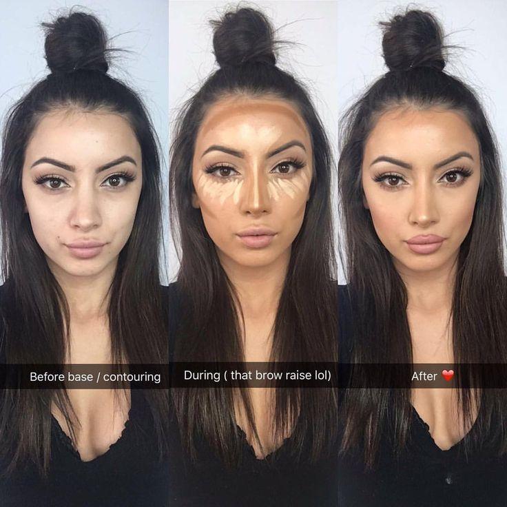 "Before & After on myself (straight from snapchat ""gemmatsakonas"") • Kim K inspired hair"