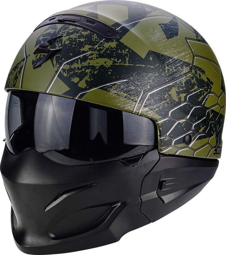 Le casque Scorpion Exo-Combat est équipé d'une mentonnière rigide et amovible