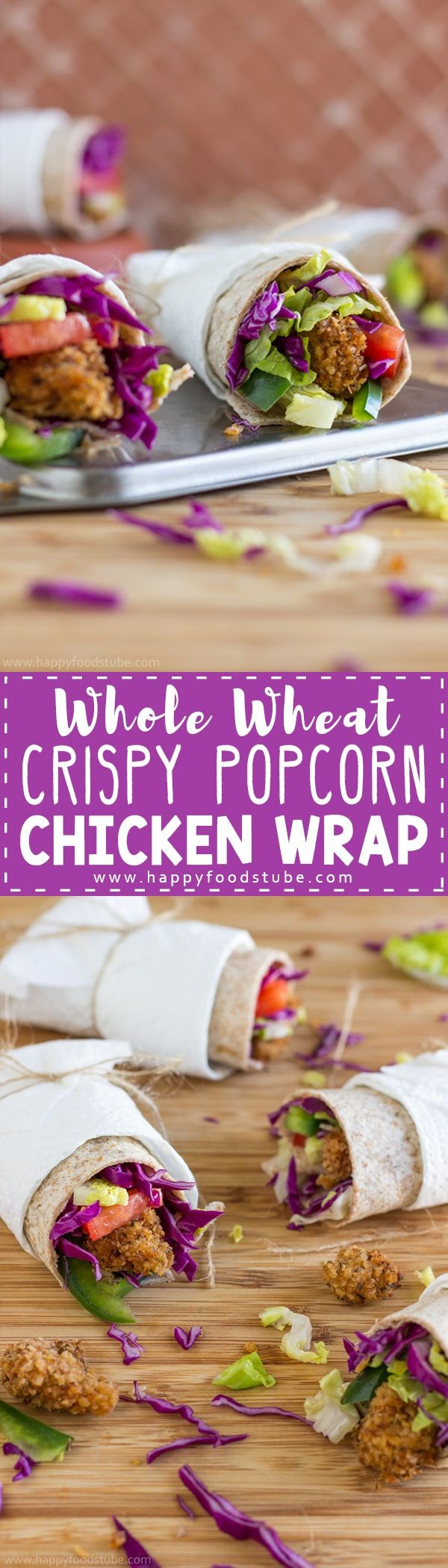 Whole Wheat Crispy Popcorn Chicken Wrap. Homemade popcorn chicken, lots of vegetables all wrapped in whole wheat tortilla. Great snack or light lunch via @happyfoodstube