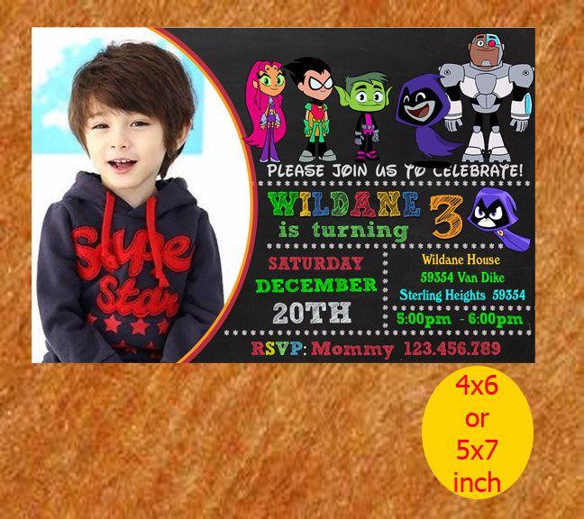 Teen Titans Go Invitation, Teen Titans Go Party, Teen Titans Go Birthday, Teen Titans Go Printable by naharululyaART on Etsy