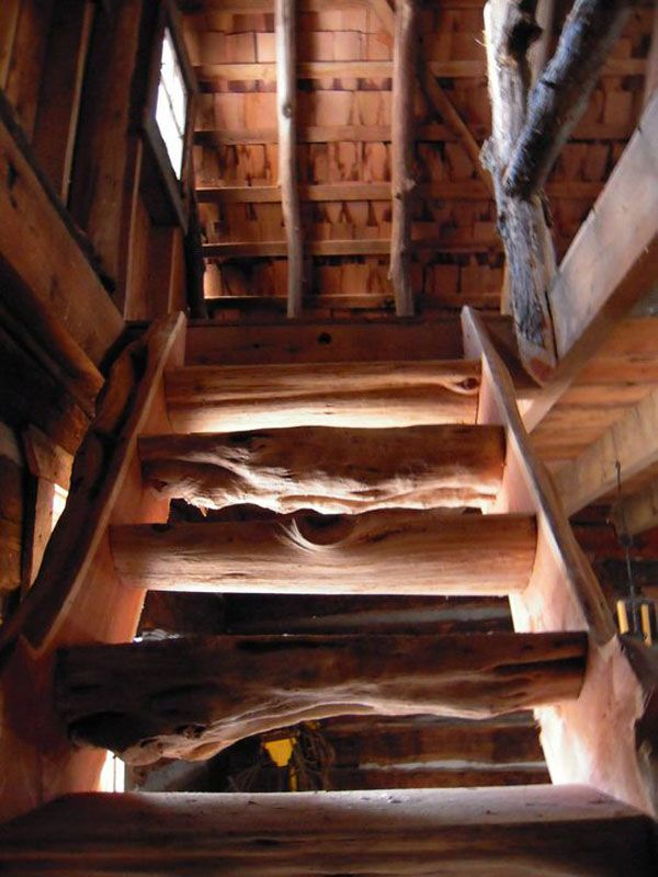 The staircase has a great story behind it. A large oak tree fell on the family's property. They were upset and didn't know what to do with i...