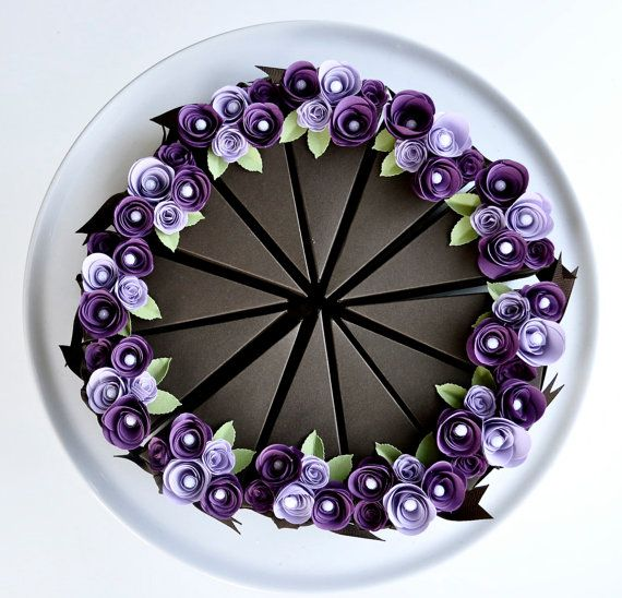 "paper cake favor boxes with paper flowers- love this etsy shop-""imeondesign"""