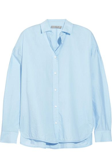Vince - Split-side Cotton Shirt - Sky blue -