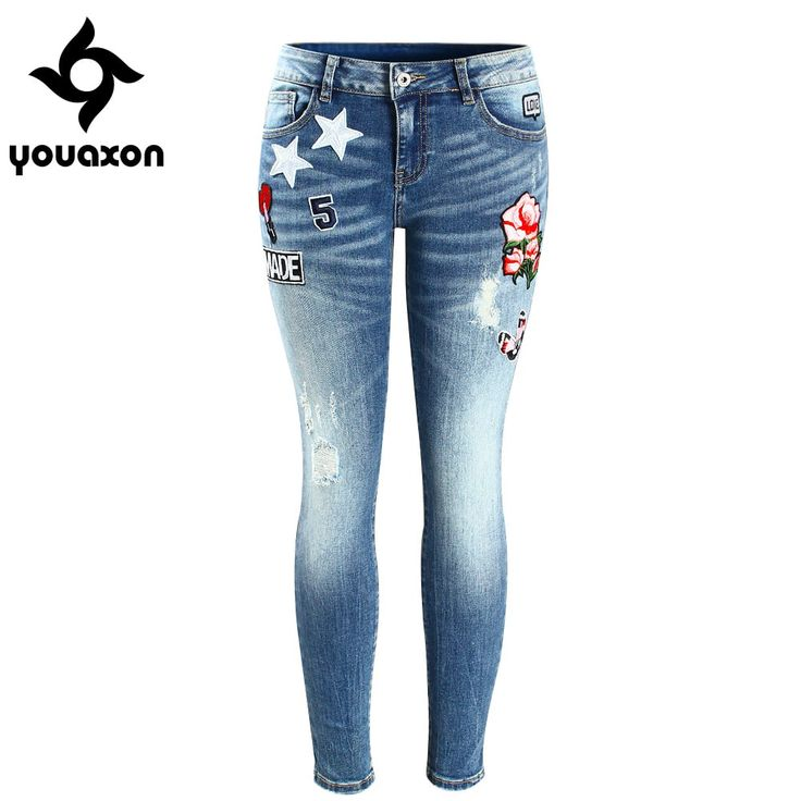 Embroidery Flower Patch Cropped Jeans //Price: $36.95 & FREE Shipping //     #style