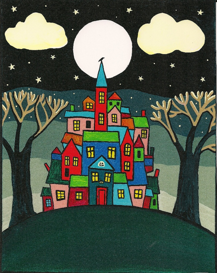 ACEO PRINT OF PAINTING RYTA FOLK ART ABSTRACT HOUSE TREES RAVEN CROW CITYSCAPE   eBay