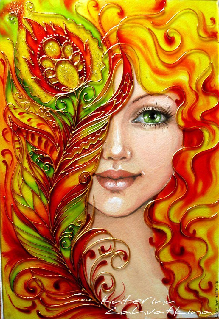 """Купить Картина на стекле """"Загадай желание"""" - комбинированный, жар-птица, девочка, Витражная роспись, чудеса"""