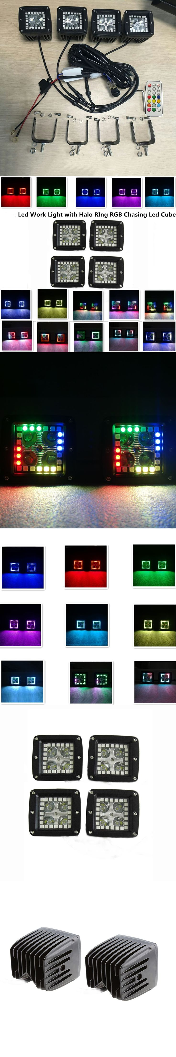 4pcs 16w halo ring angel eyes Spot Led Work Light Offroad 12 Solid Colors Changing RGBW free wire harness led fog light