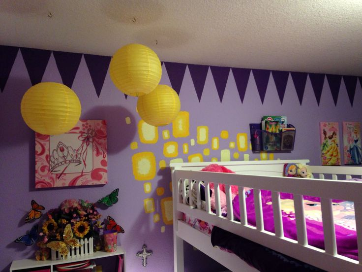 Disney Princess and Rapunzel Tangled themed kids room. I free handed the lanterns on the wall. Paper lanterns were from Pier One.