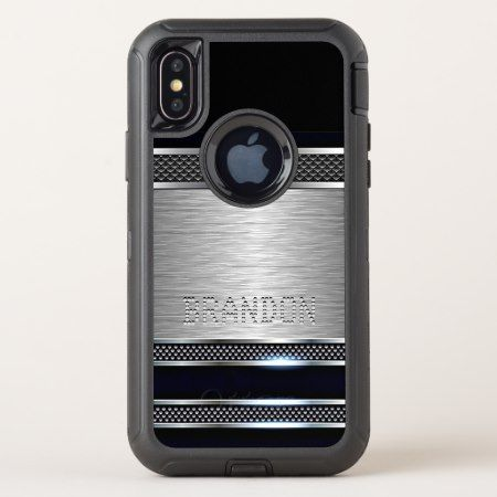 Custom Modern Faux Shiny Metal Stripes Pattern OtterBox Defender iPhone X Case - click/tap to personalize and buy