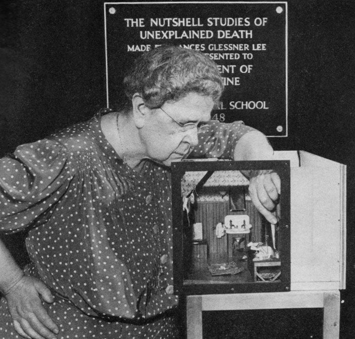 """""""Frances Glessner Lee (March 25, 1878 – Jan. 27, 1962) was a millionaire heiress who revolutionized the study of crime scene investigation. She founded Harvard's department of legal medicine, the first program in the nation for forensic pathology."""" http://en.wikipedia.org/wiki/Frances_Glessner_Lee ~~~She created the Nutshell Studies of Unexplained Death."""
