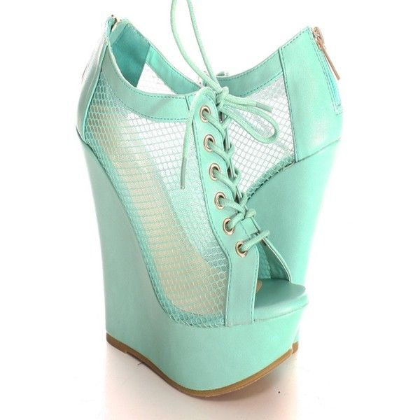 MINT OPEN TOE LACE UP BACK ZIPPER WEDGE ($60) ❤ liked on Polyvore featuring shoes, wedge heeled shoes, wedge shoes, high heel wedge shoes, laced up shoes and mint green shoes