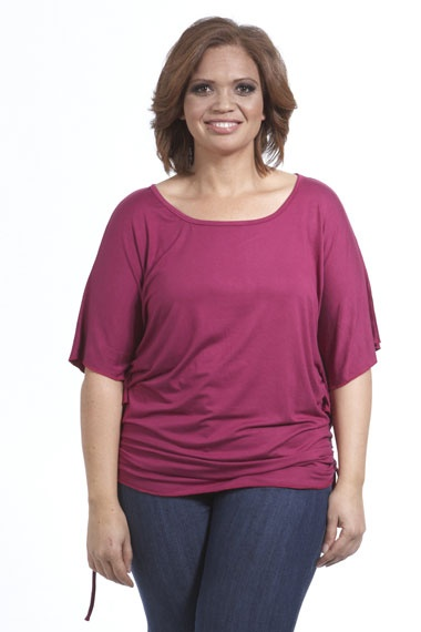 This pretty top makes the bat-wing trend accessible to plus size ladies. Flattering adjustable side ruche detail adds to the look. #plussize #style