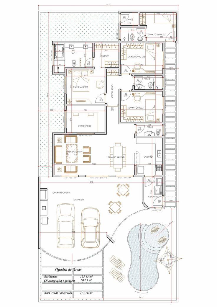 Projeto de casa térrea de 3 quartos com 175,76m²