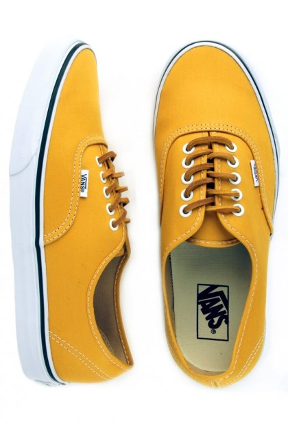 Vans Authentic Shoes (Brushed Twill) - Mineral Yellow/True White $55.00