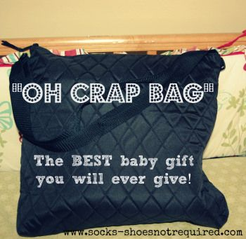 """The """"Oh Crap"""" bag. A great Baby Shower gift."""