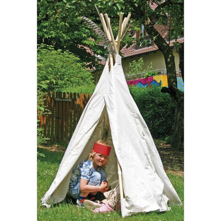 Indianerzelt Tipi, Kinderspielzelt aus Baumwolle, wasserabweisender Stoff, 160cm hoch, von Eduplay