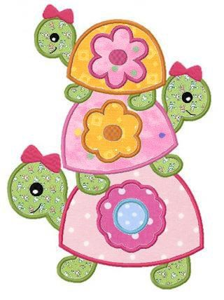 Girly turtle applique machine embroidery design by FunStitch, | http://best-stuffed-animals-family.blogspot.com