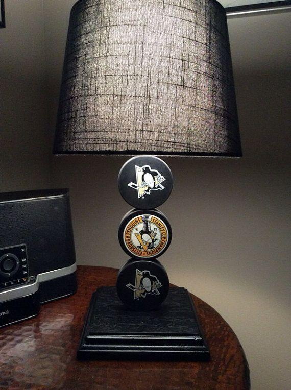 Pittsburg Penguins Hockey Puck Lamp on Etsy, $65.00