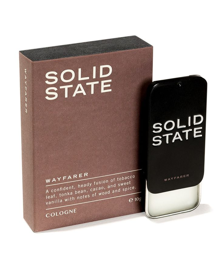 The Wayfarer Solid Cologne blends smooth tobacco leaf, creamy tonka bean, and rich cacao to provide a masculine scent redolent of oak-panelled bars hidden behind unmarked doors in foreign cities. Notes of fruit and spices provide a comforting feel to this opulent, exotic scent. | huntingforgeorge.com