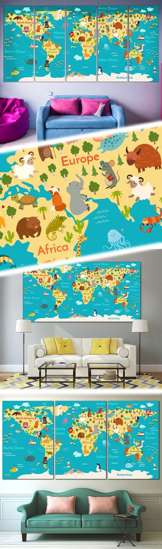Extra large Animal World Map Wall Art for Kids room wall decoration.