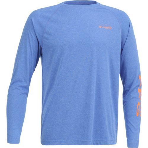 Columbia Sportswear Men's Terminal Tackle Heather Long Sleeve Shirt (Vivid Blue Heather/Jupiter, Size X Large) - Men's Outdoor Apparel, Men's Fishi...