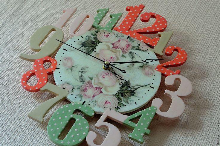 """Купить Часы""""Розовый леденец""""розовый оливковый бежевый детская - весна, прованс, кухня, часы, часы настенные"""