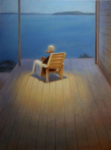 Eläköön se pieni ero kuluttajan ja suurkuluttajan välillä - I, the consumer, 2006 by Kaj Stenvall Öljy kankaalle - oil on canvas, 120 x 90 cm.