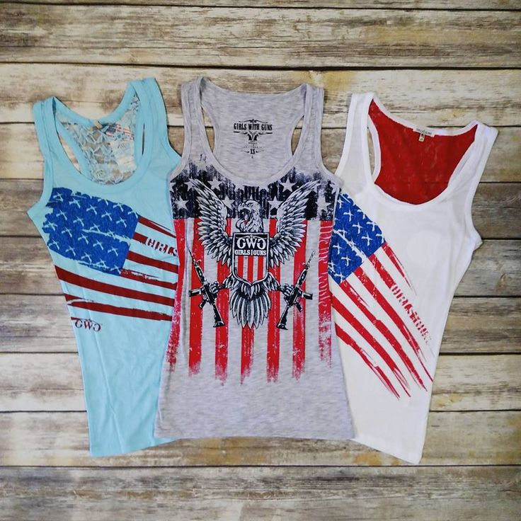 These Girls With Guns Clothing Patriotic Tanks are not only perfect for the 4th of July, but to show off your love for the Red, White & Blue year round!