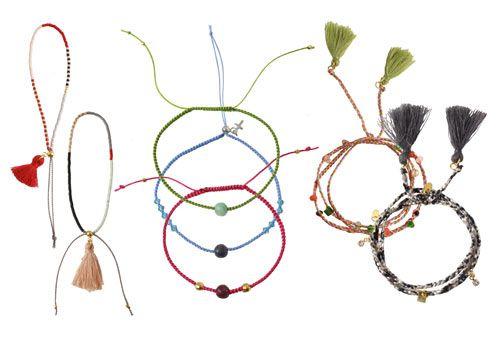 DIY summer bracelets with tassels or gemstones