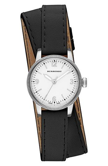 Burberry 'Utilitarian' Round Leather Wrap Watch, 30mm available at #Nordstrom