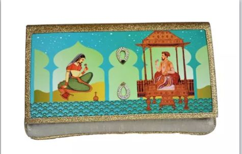 Mughal era digital print clutch