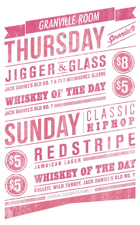 Cocktail tavern type poster and mirror decal by Francisco Pena, via Behance