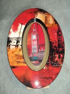 Stunning Big Ben Hand Embellished Wall Mirror Art Typically British