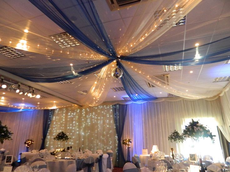 Mirror Ball Reflects Light Onto Organza Ceiling Swags With Pea Lights Www Partylinen