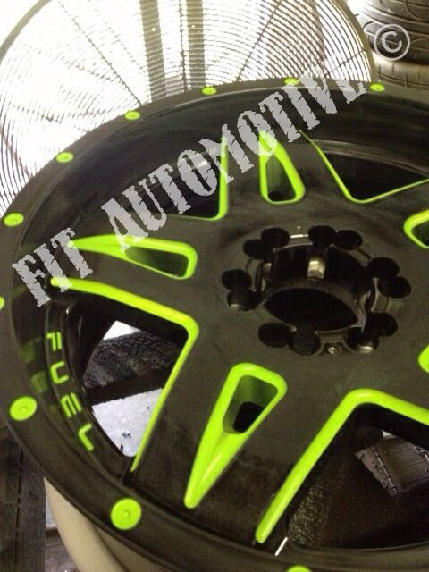 E Car >> Fuel Full blown wheels! Custom painted green! Have your wheels custom painted!! #fuel # ...