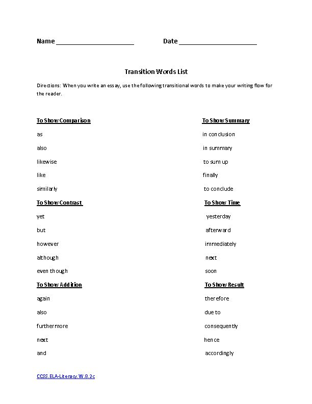 best transition words images worksheets essay  writing