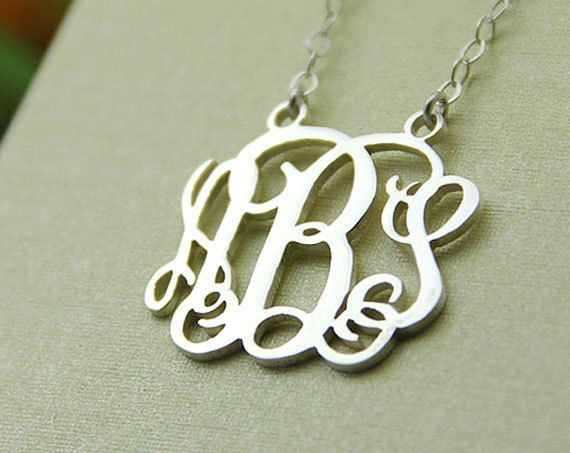 "$24.99 - Monogram necklace - dKl 1.5"" monogram necklace .925 sterling silver 16"" chain - got it!!!:"