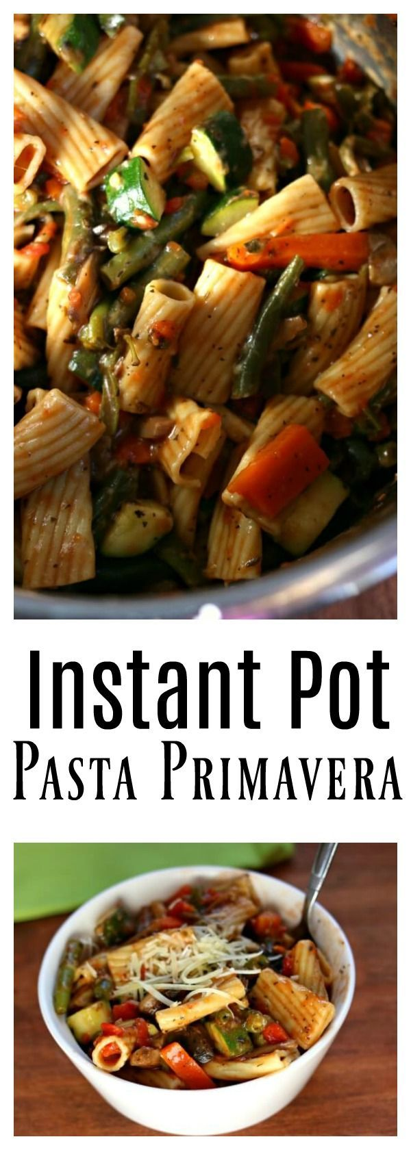 Instant Pot Pasta Primavera–A meatless pasta and vegetable dish. Rigatoni pasta is cooked quickly in your pressure cooker along with tomatoes, fresh green beans, carrots, mushrooms, garlic and zucchini.  The whole dish is tossed with grated parmesan cheese. #instantpot #instapot