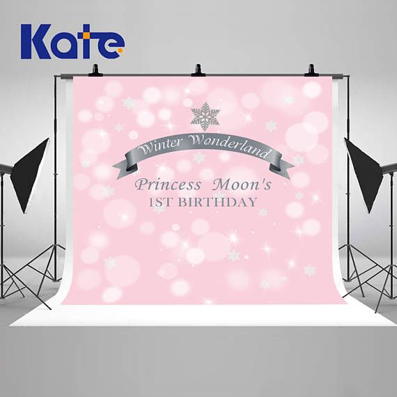 Winter Wonderland Snowflakes Photography Backdrops Pink and
