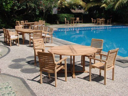 """New 5 Pc Luxurious Grade-A Teak Dining Set - 60"""" Round Table and 4 Stacking Arm Chairs [Model:HR8] by WholesaleTeak. $955.99. ADD SUNBRELLA FABRIC CUSHIONS BY SEARCHING """"Wholesaleteak Dining Cushion"""" ON AMAZON, CUSTOM MADE FOR THESE STYLE CHAIRS. Chair Dimension: 22"""" Width x 21"""" Depth x 34"""" Height. 60"""" Round Table and includes umbrella hole in the center of table.. The chairs are stackable for easy storage.. Table Dimension: 60"""" Round Table, 30.5"""" H. Set includes: 60..."""