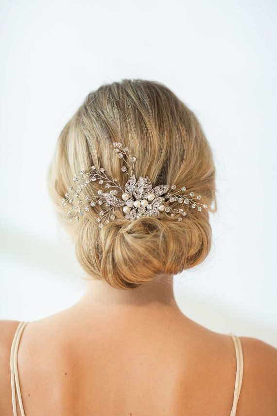 Wedding Hair Comb  Handcrafted crystal bridal comb with twigs of wired rhinestones and a freshwater pearl embellished center.  COLOR: