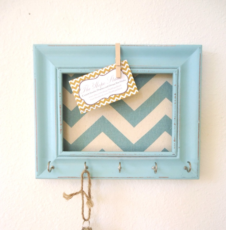 Totally going to make this! Key Holder Memo board Wall Hook Home Decor - Chevron Frame Organization Tiffany blue 5 Silver Hooks- House warming gift-Ready to Ship. $20.50, via Etsy.