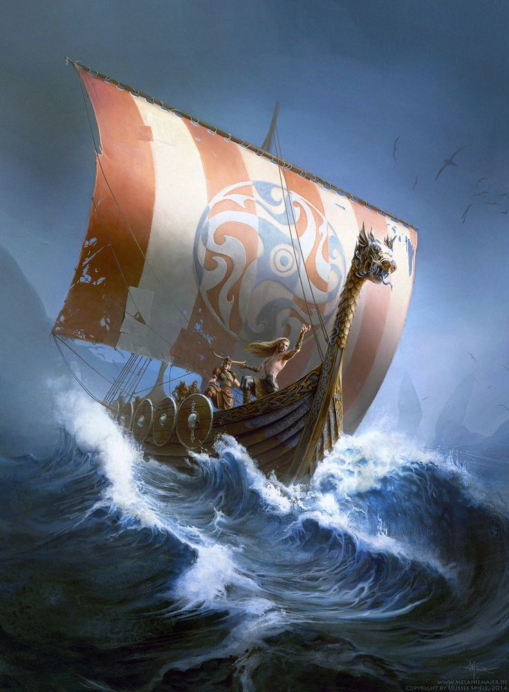 Book Cover Thorwal (Das Schwarze Auge) by melaniemaier viking ship boat crew ocean waves landscape location environment | Create your own roleplaying game material w/ RPG Bard at www.rpgbard.com | Writing inspiration for Dungeons & Dragons DND Pathfinder PFRPG Warhammer 40k Star Wars Shadowrun Call of Cthulhu and d20 fantasy science fiction scifi horror design | Not our art: please click artwork for source
