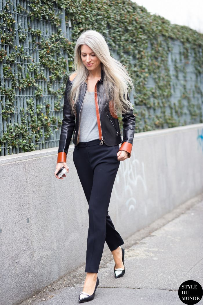 leather jacket with tank top and skinny pants