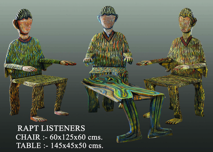 Rapt Listeners Medium:-wooden Chair:-60x125x60cms Table:-145x45x50cms